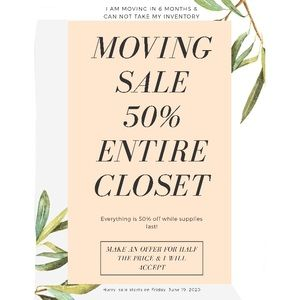 Entire Closet 50% Off  (Moving Sale) Make an Offer